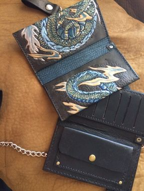 Custom Made Leather Biker Chain Wallets Tattoo Style Art