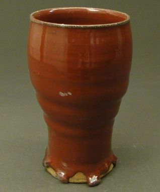 Custom Made Pottery Tall Cup Colored In A Copper Red Glaze, (Sku 43)