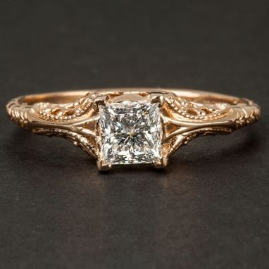 Custom Made 1/2ct Gia Certified Princess Cut Engagement Ring 14k Rose Gold Vintage