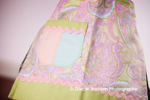 "Custom Made Celery Green, Baby Pink, And Baby Blue Flannel Apron ""Cotton Candy''"