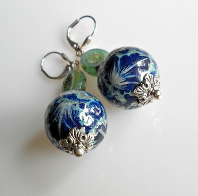 Custom Made Earrings Paper Mache Beads In Cobalt, Silver And Light Aqua With Czech Glass And Silver Plate