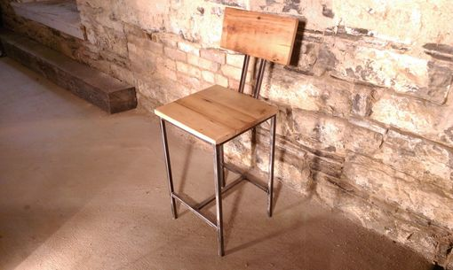 Custom Made Modern Style Bar Stools With Back Rest Made From Reclaimed Wood And Metal