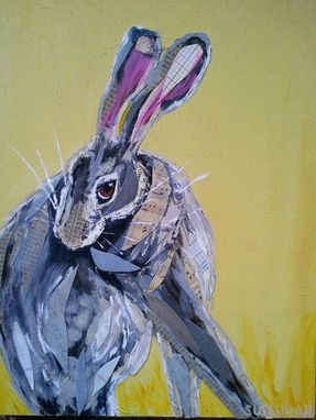 Custom Made Coy Hare On Yellow Limited Edition Print