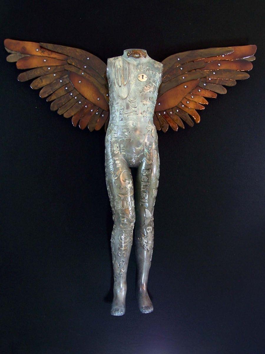 Custom Made Mixed Media Wall Sculpture Angels Among Us