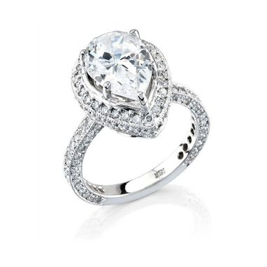 Custom Made Fashionable 18k Classic Diamond Pear Shape 1.28 Ct Engagement Ring