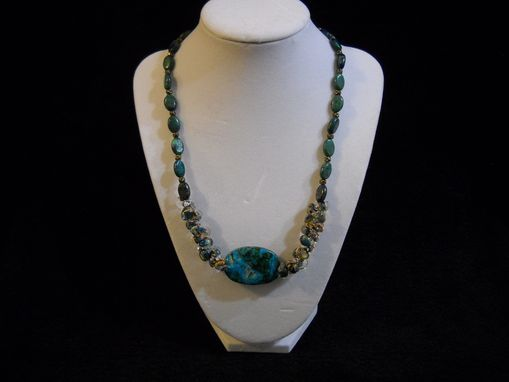 Custom Made Chrysocolla And Hand Blown Glass Necklace