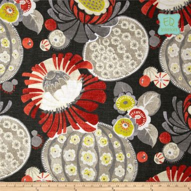 Custom Made Waverly Copacabana Retro Floral Linen In Campari Black Red Yellow 84l X 50w Custom Curtains