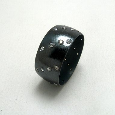 Custom Made Oxidized Sterling Silver Wide Band With Cubic Zirconia Set In Diagonal Pattern By Cristina Hurley