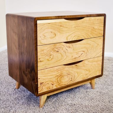 Custom Made 3 Drawer Danish Mid Century Modern Nightstand