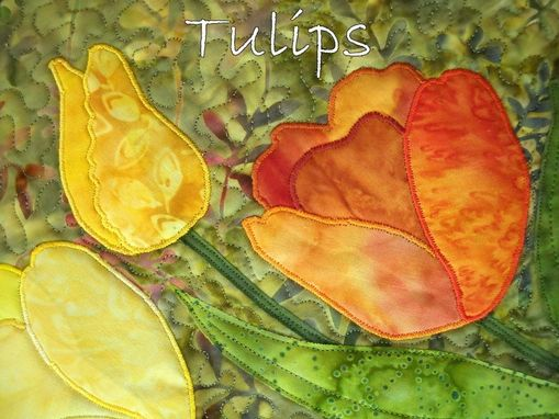 Custom Made Colorful Tulips Quilted Wall Hanging