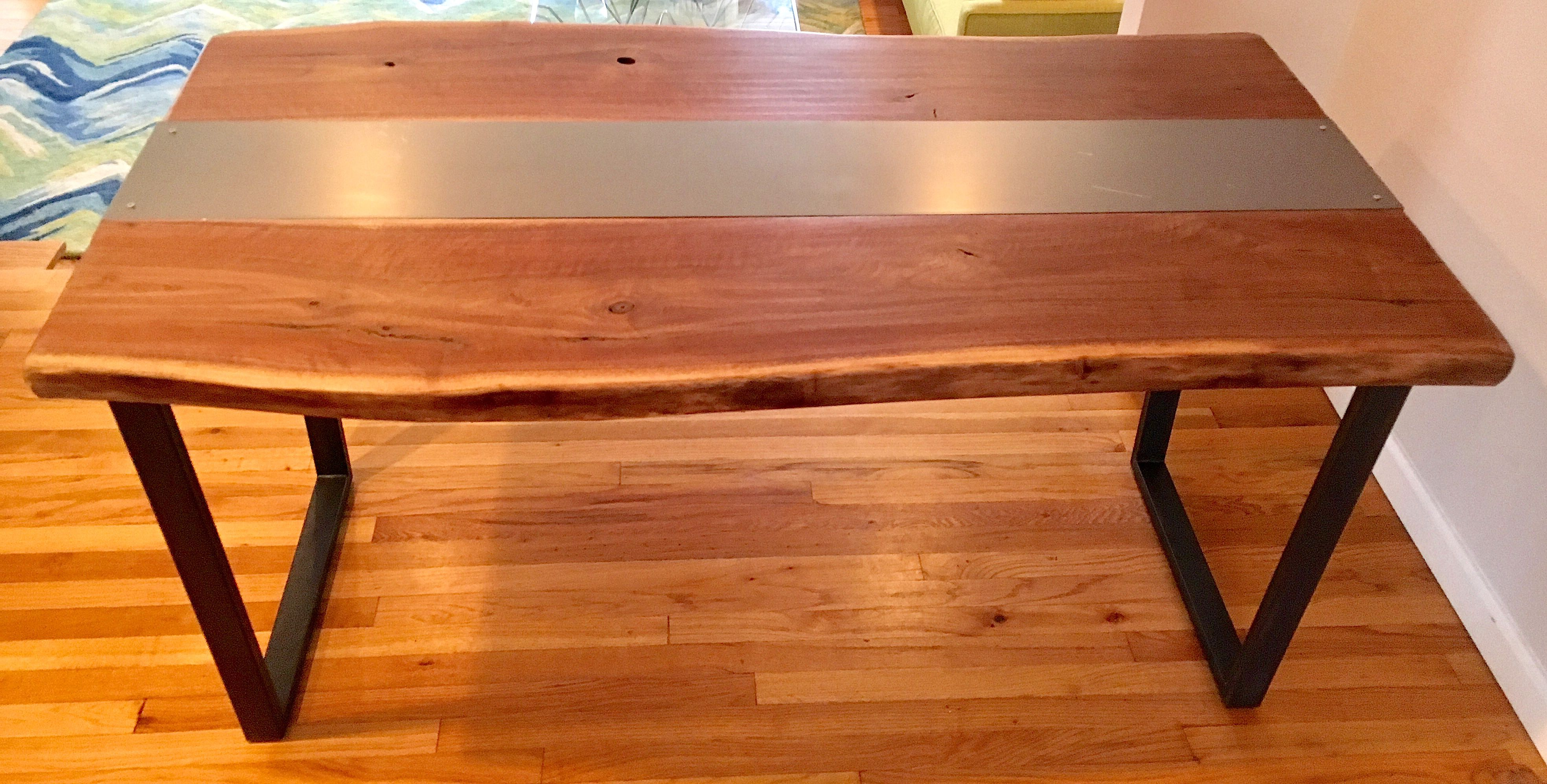 Custom Live Edge And Metal Black Walnut Slab Dining Table W Steel