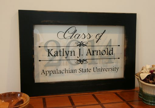 Custom Made Personalized Graduation Sign In Handcrafted Reclaimed Wood Frame With Distressed Black Finish 15x22