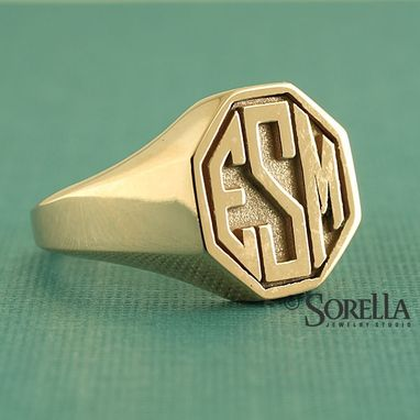 Custom Made Men's Personalized Octagon Monogram In Block Style In 14k Gold