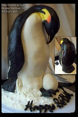 Custom Made Penguin And Egg Cake Art