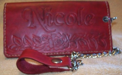 Custom Made Custom Leather Biker Wallet With Roses, Personalization And In Cranberry Red