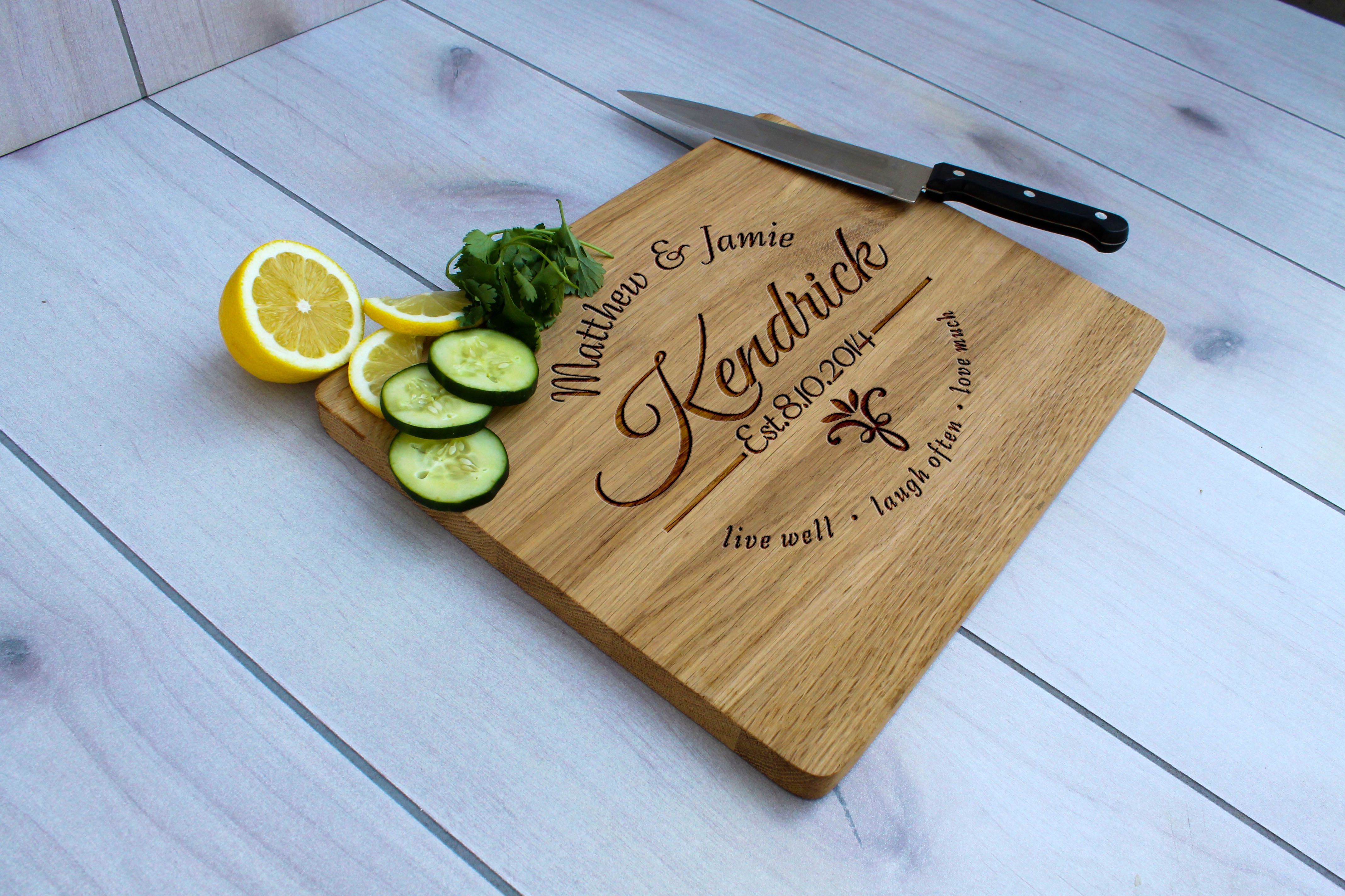 Custom Made Personalized Cutting Board Engraved Wedding Gift Cb