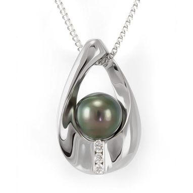 Custom Made Black Pearl And Diamond Pear Shape Pendant In 14k White Gold, Pearl Pendant, Diamond Pendant