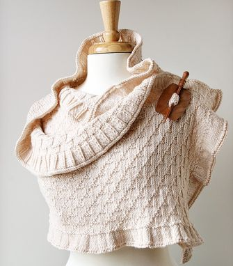 Custom Made Elegant Hand-Knit Wrap - Rococo Shawl - Custom Colors And Yarns (Merino Wool, Silk, Cotton)