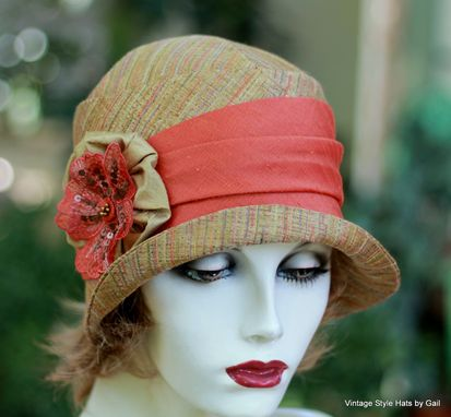 Custom Made Womens Cloche Hat 20'S Style In Earth Tones With Orange Trim