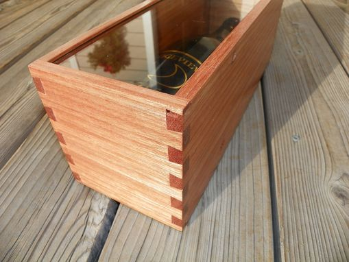 Custom Made Wine Bottle Box With Sliding Glass Cover - Made From Reclaimed Mahogany And Bamboo