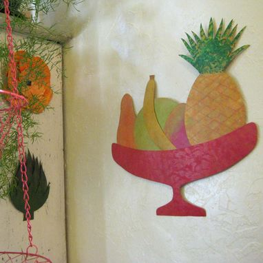 Custom Made Art Sculpture - Tropical Fruit - Reclaimed Metal Kitchen Wall Art 17 X 17