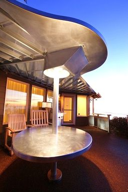 Custom Made Oregon Coast Integrated Stainless Steel Awning, Lighting, Table, Rail, And Bar