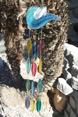Custom Made Windchime With Aqua, Turquoise, And Blue Glass