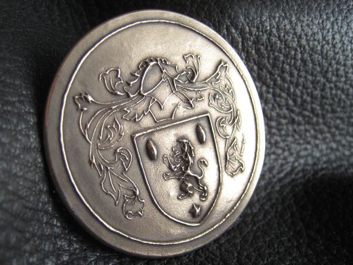 Custom Made Custom Family Crest Coat Of Arms Heraldry  Brooch Pin In Solid Bronze