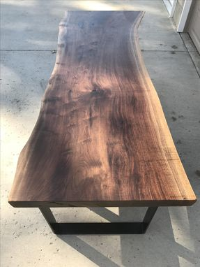 Custom Made Live Edge Walnut Dining Table With Bench