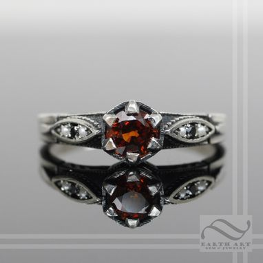 Custom Made Vintage Style Garnet And Diamond Ring