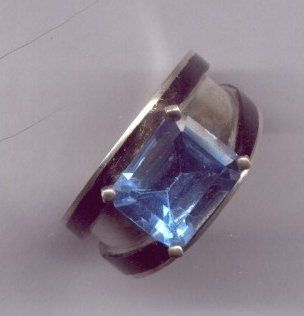 Custom Made Unique Engagement Ring With Over 4 Carat Swiss Blue Topaz