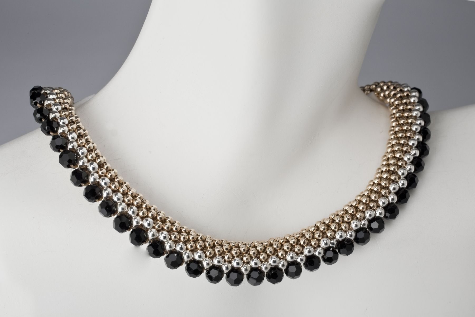 Custom Elegant Beaded Necklace In Gold Silver And Black