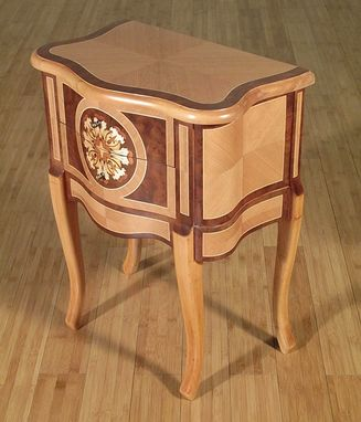 Custom Made Natural/Walnut French Provincial Nightstand Side Table
