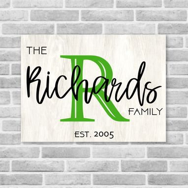 Custom Made Family Name, Initial, Established Date Wooden Sign