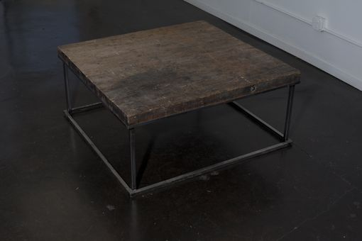 Custom Made Maple Topped Industrial Coffee Table