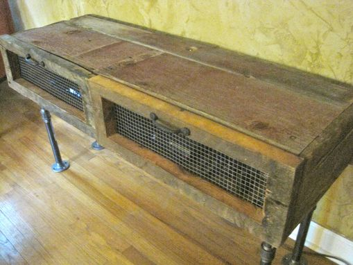 Custom Made Tv/Entertainment Stand Or Cabinet W/Storage (Reclaimed Barnwood And Black Pipe)