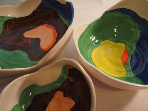 Custom Made Handpainted Ceramic Nesting Bowls, Ceramic Bowls