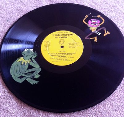 Custom Made Upcycled Hand Painted Vinyl Record - Muppets