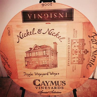 Custom Made Wine Crate Panels 100% Handcraft Lazy Susan From Napa Valley. Nn Center