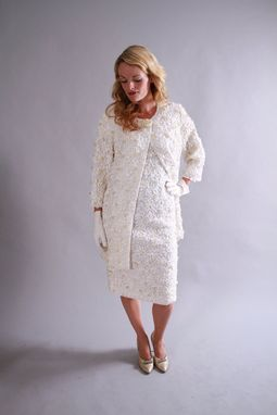 Custom Made 1960s Vintage Wedding Dress Set From Beaded White Ribbon Lace Wiggle Dress And Jacket