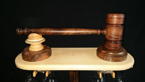 Custom Made The Art Of The Gavel And Wine Glass Holder