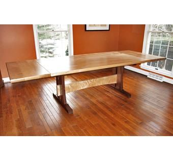 Custom Made Trestle Dining Table And Cantilever Chairs