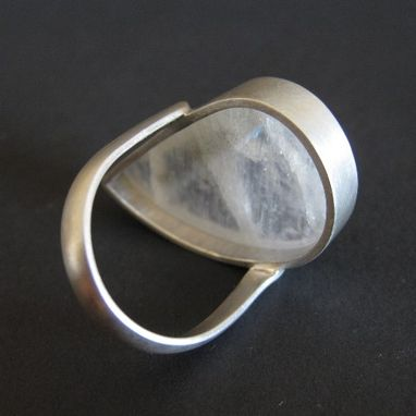Custom Made Pinstriped Moonstone Ring, Handmade