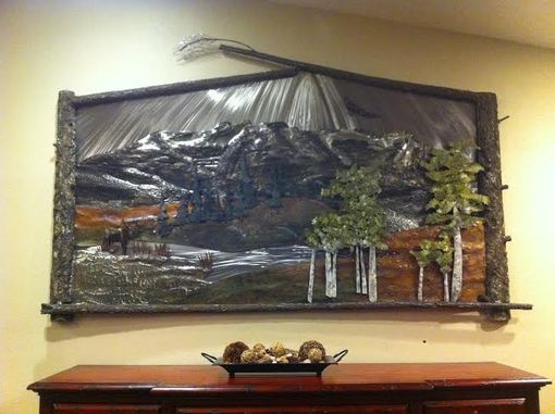 Custom Made Mountain Scene Relief Sculpture
