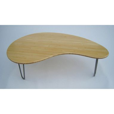 Custom Made Mid Century Modern Coffee Table - Kidney Bean Shaped In Natural Bamboo