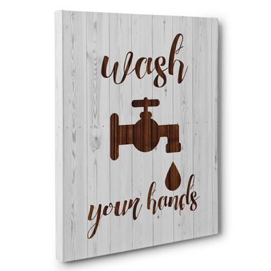 Custom Made Wash Your Hands Bathroom Canvas Wall Art