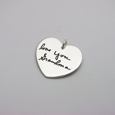 Custom Made Silver Heart Pendant With Your Actual Handwriting