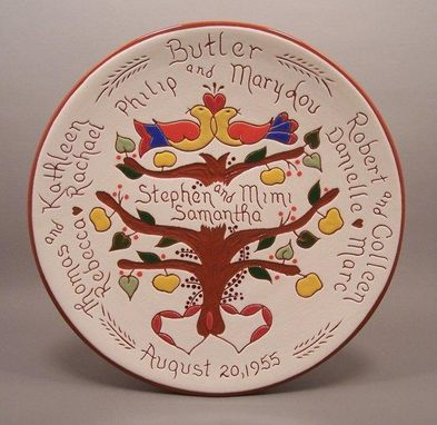 Custom Made Personalized Birth And Wedding Plates With Pennsylvania Dutch Or Celtic Designs