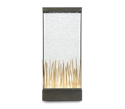 Custom Made Bamboo Wall Fountain - Glass And Black Stainless Steel Waterfall