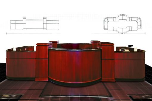 Custom Made Ambassador Steel'S Cherry Reception Desk